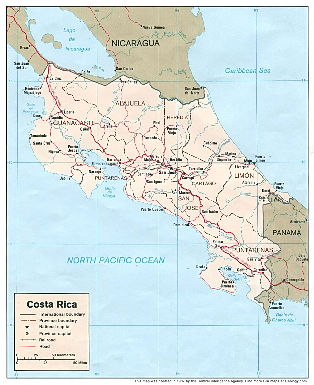 Costa Rica Map and Satellite Image