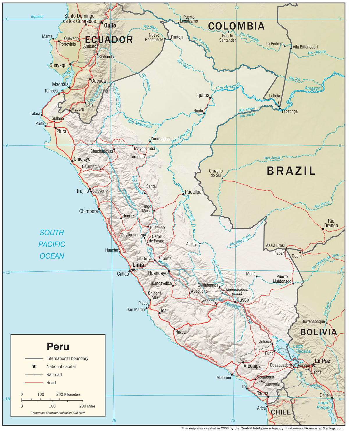 Peru Map and Satellite Image