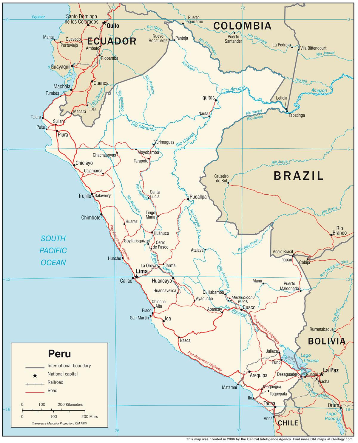 Peru River Map Peru Map and Satellite Image