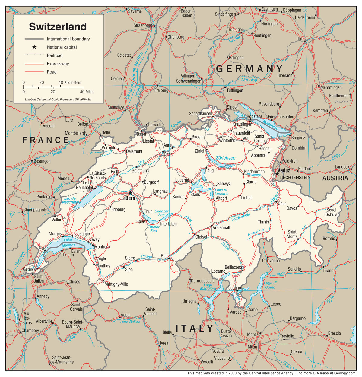 Switzerland Map And Satellite Image