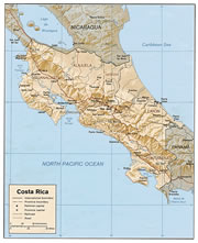 Costa Rica Physical Map