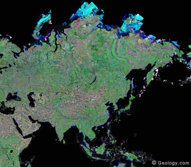 Asia satellite photo