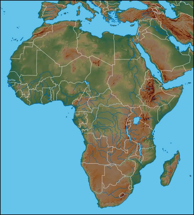 Labeled Physical Map Of Africa.Physical Map Of Africa