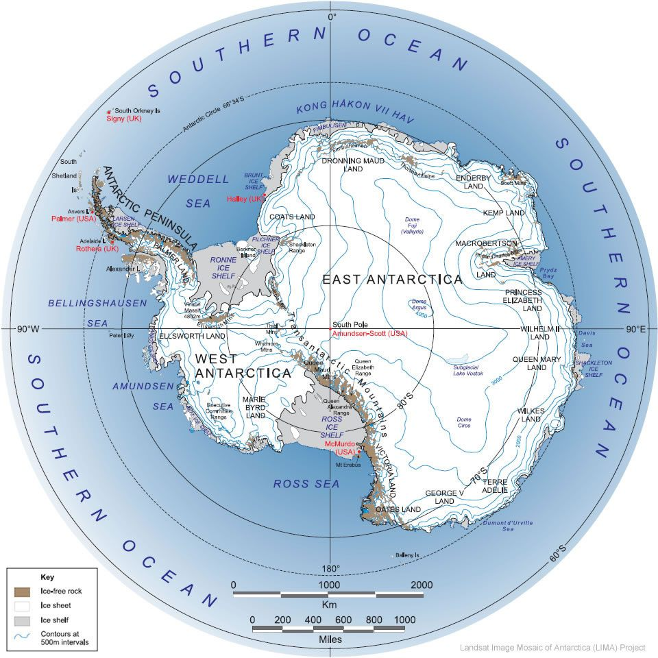 Map of Antarctica and the Southern Ocean