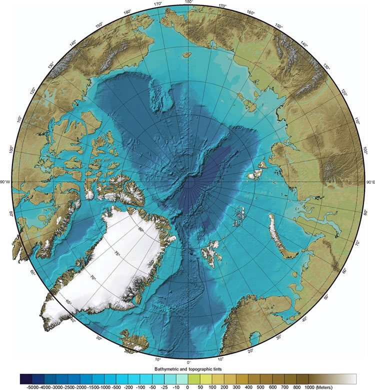 Arctic Ocean Map  Arctic Circle and Ice