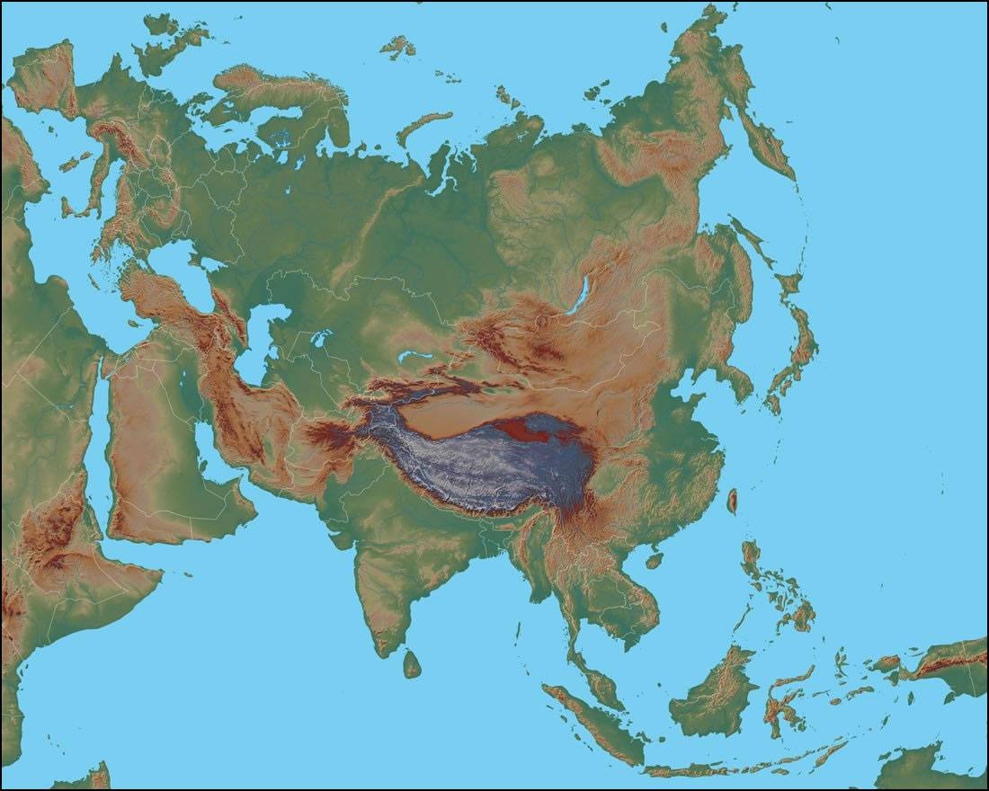 Image of: Physical Map Of Asia