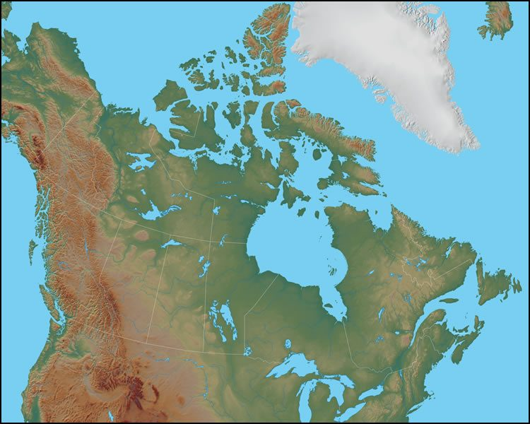 Canada Physical Map Physical Map of Canada