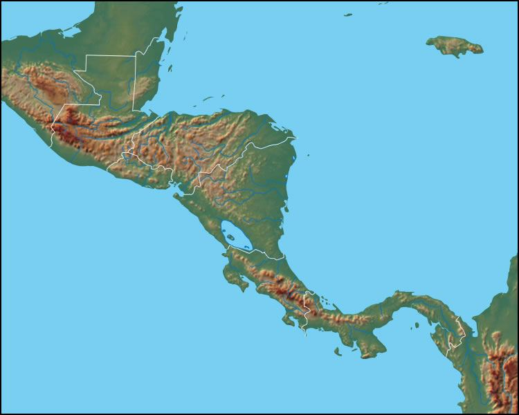 Physical Map of Central America Central America Political Map