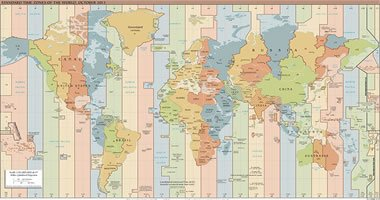 CIA Standard Time Zone Map of the World