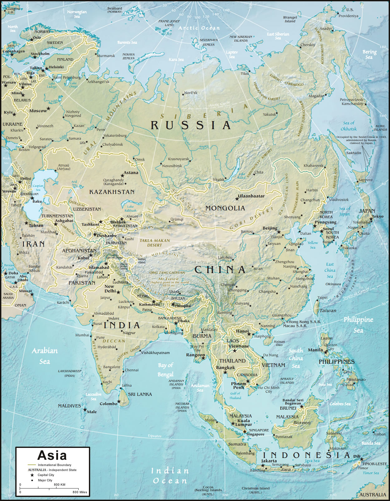 CIA Physical Map of Asia