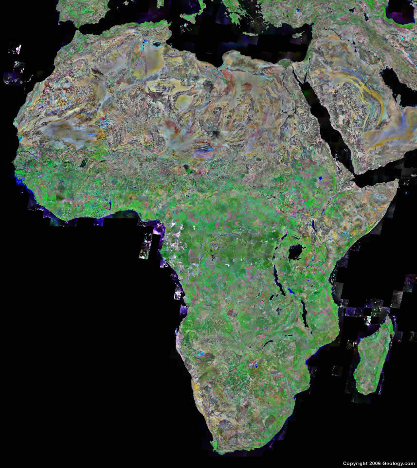 Africa Map And Satellite Image - Real life satellite view