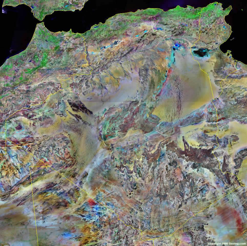 Algeria Map And Satellite Image