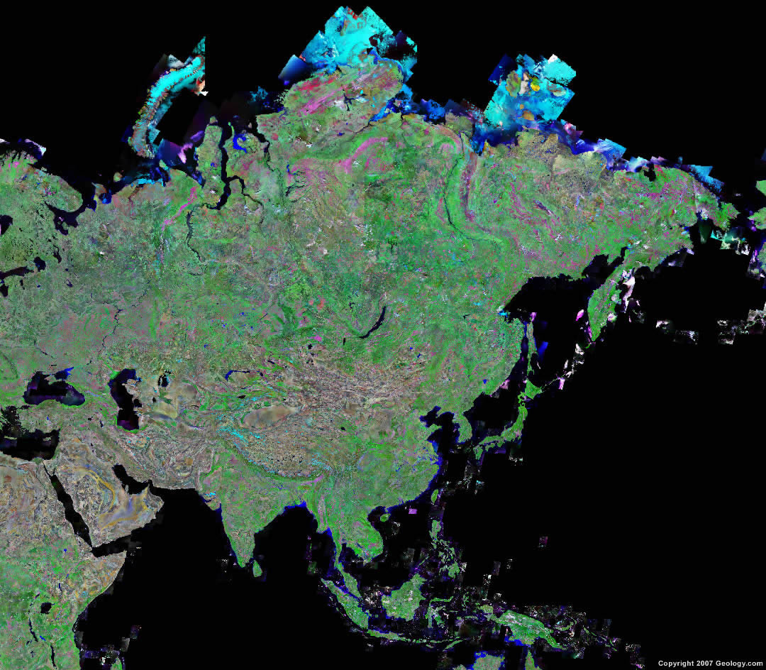 Asia Map And Satellite Image - Asia satellite map