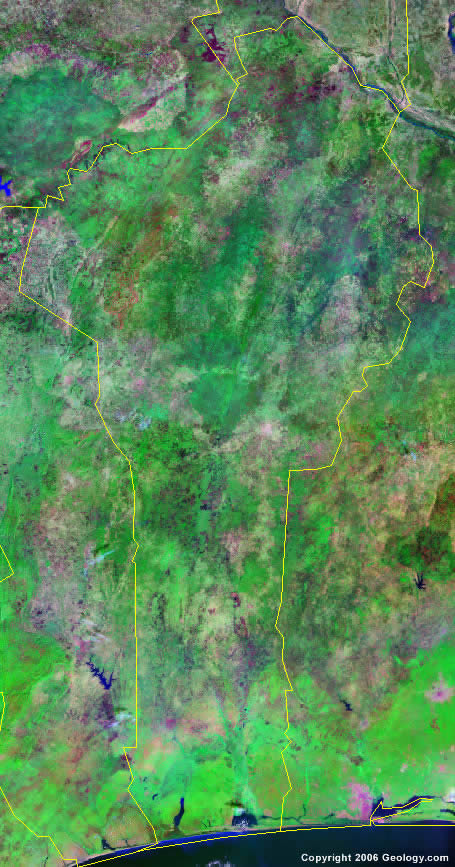 Benin Map and Satellite Image