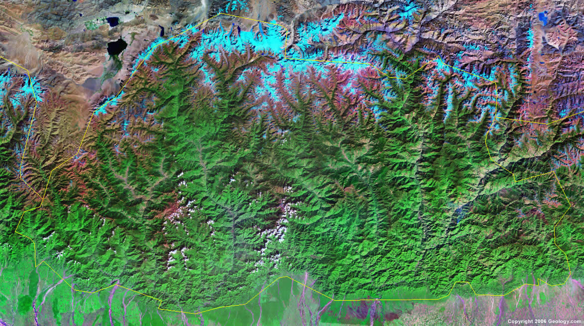 Bhutan satellite photo