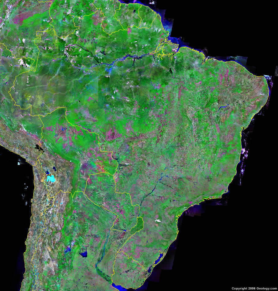 Brazil Map and Satellite Image