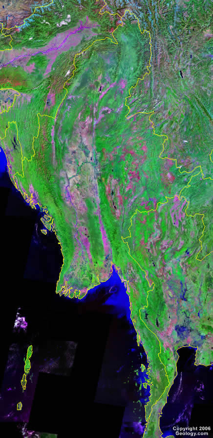 Burma satellite photo