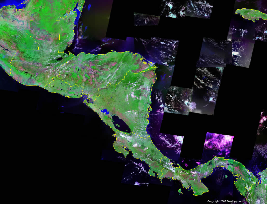 Central America Map and Satellite Image