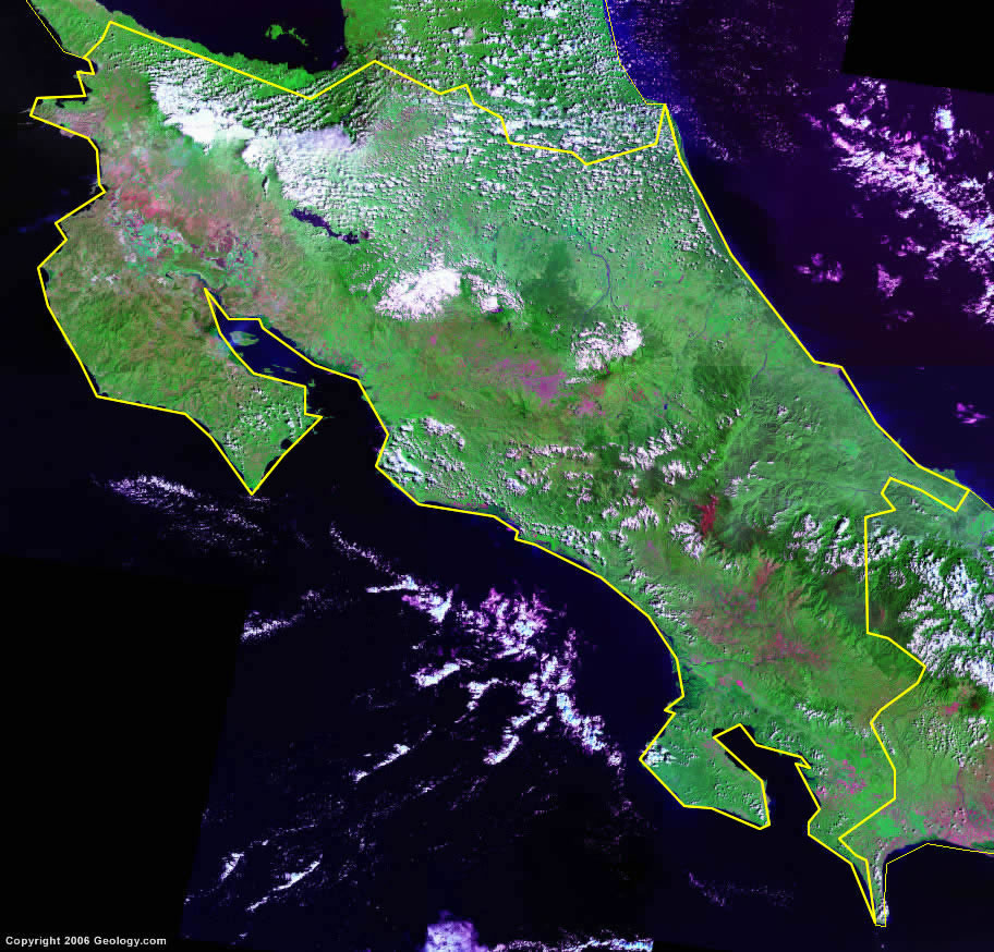 Costa Rica Map And Satellite Image - Map of costa rica world