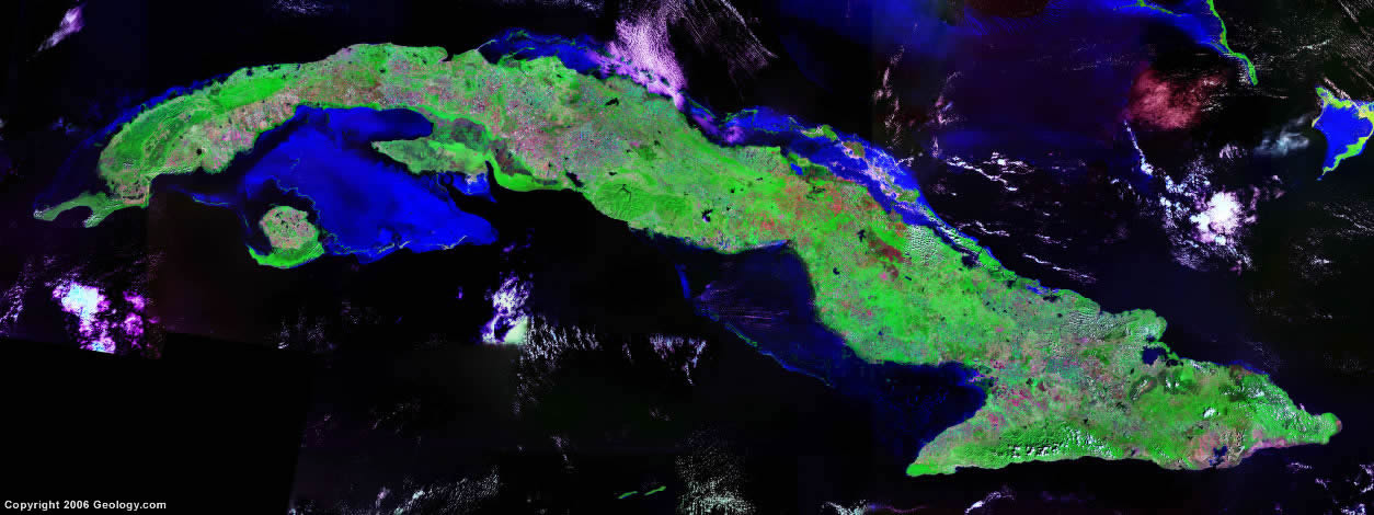 cuba map and satellite image