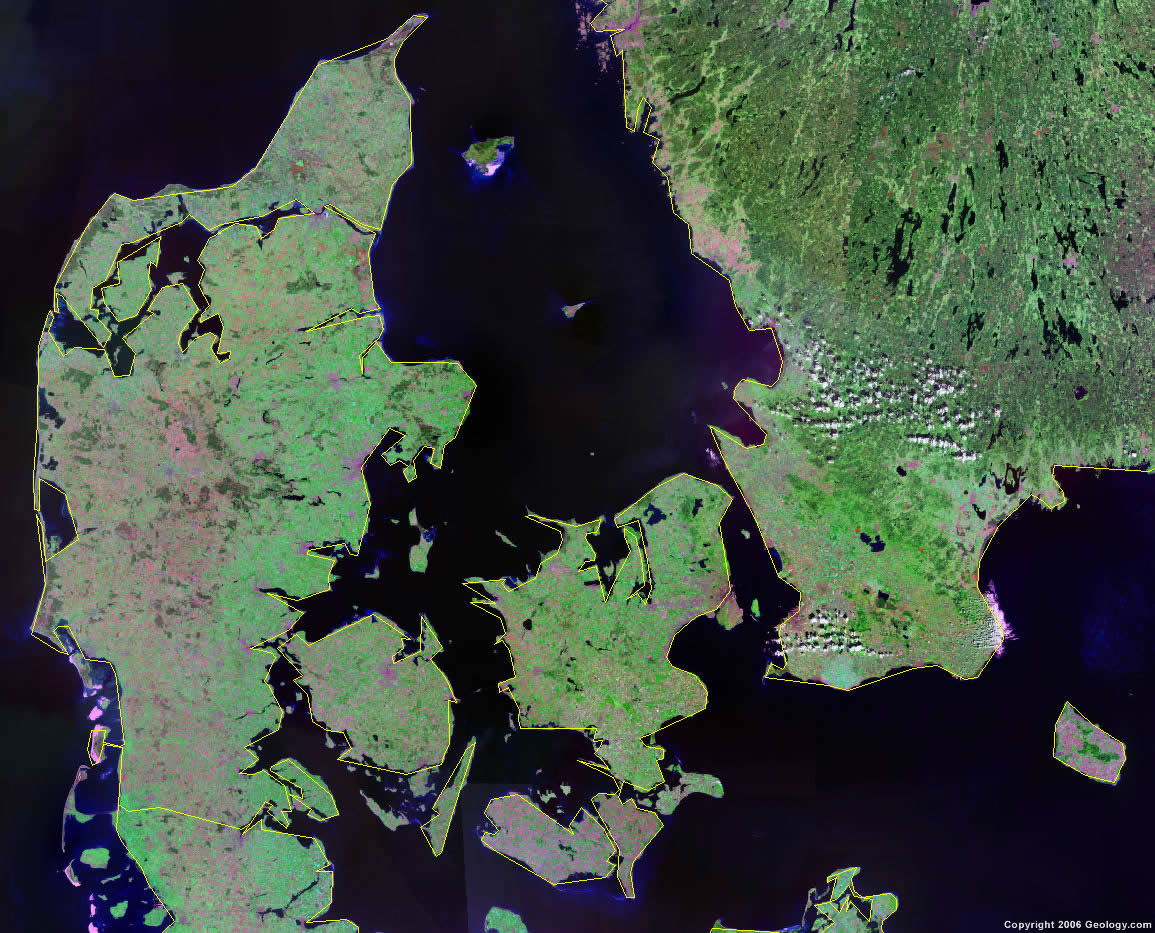 Denmark Map and Satellite Image