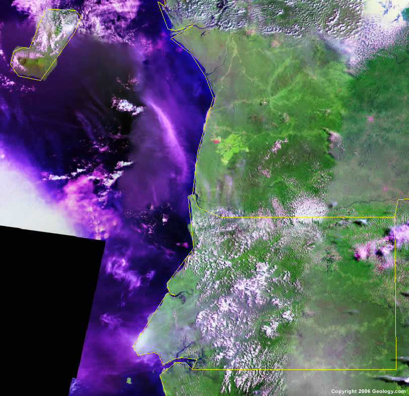 Equatorial Guinea Map and Satellite Image