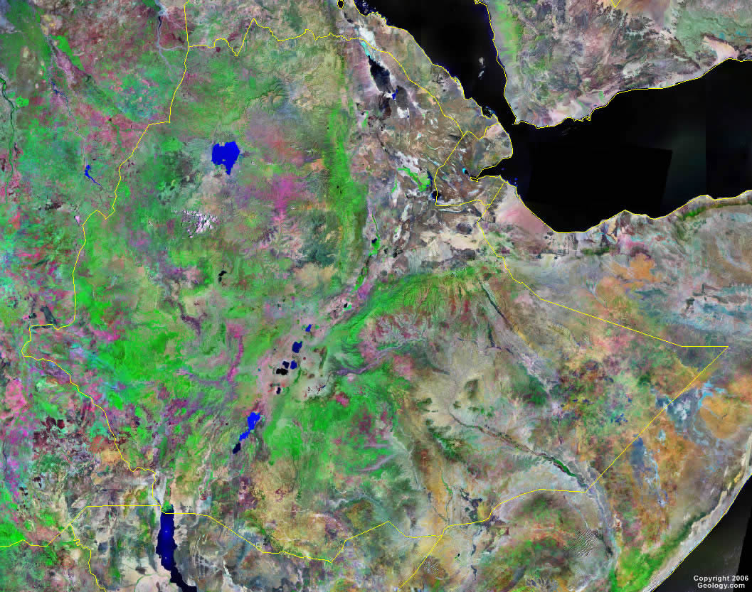 Ethiopia Map and Satellite Image