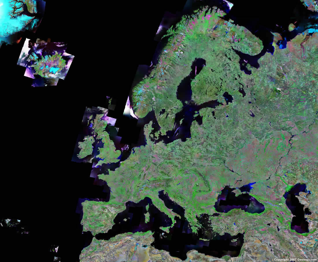 Europe Map and Satellite Image
