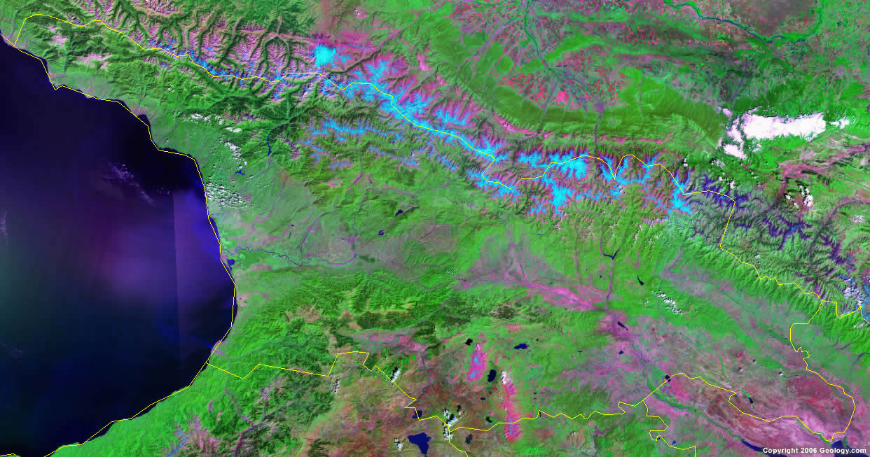 Georgia map and satellite image georgia satellite photo gumiabroncs Choice Image