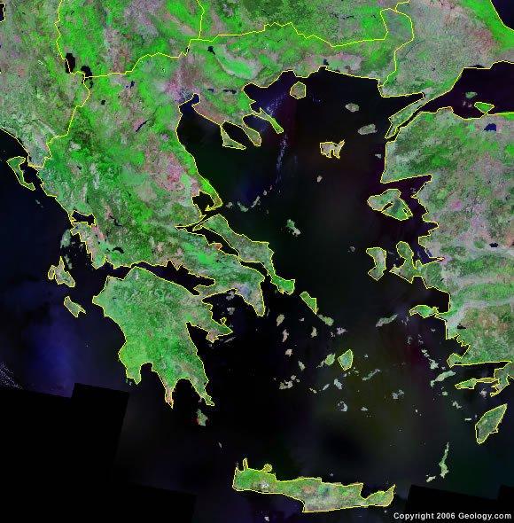 Greece satellite photo