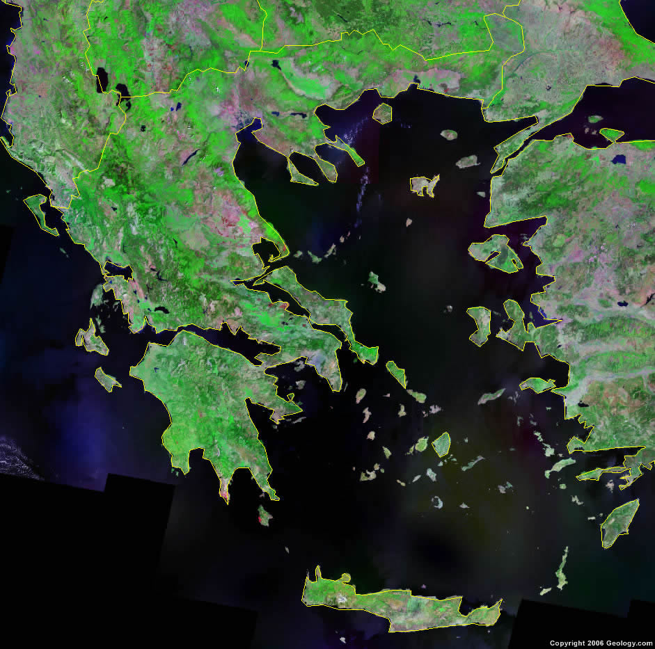 Greece Map And Satellite Image - World map by satellite