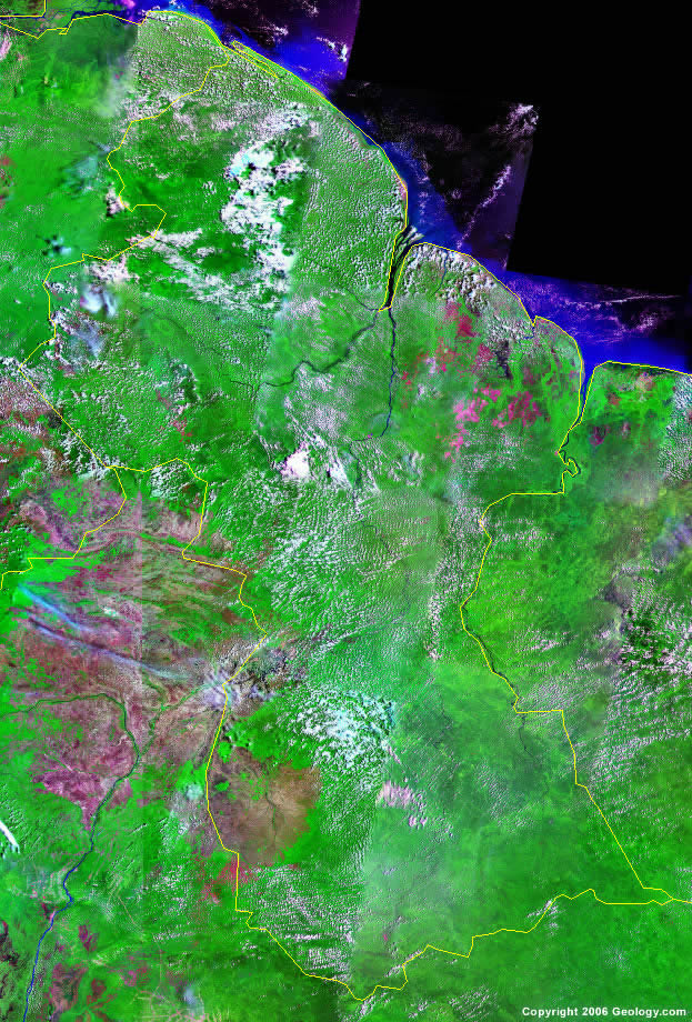 Guyana Map and Satellite Image