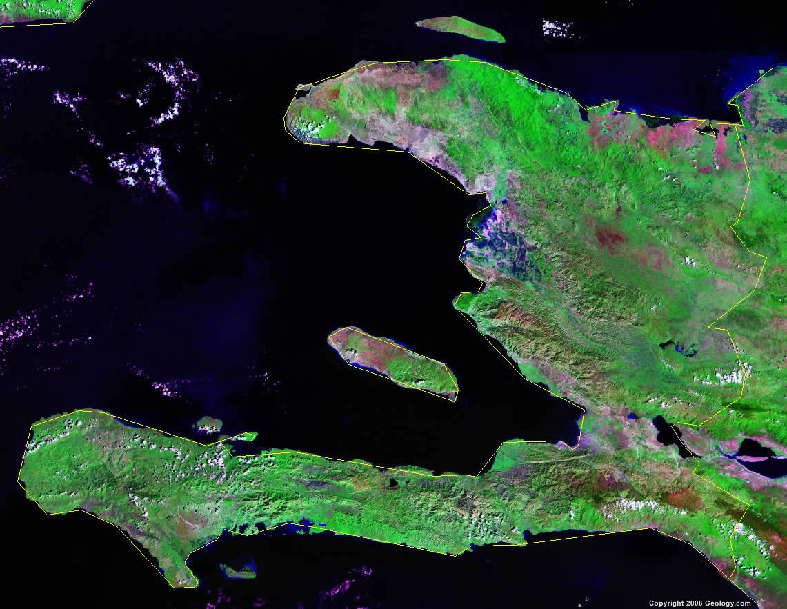 Haiti Map And Satellite Image - Physical map of haiti