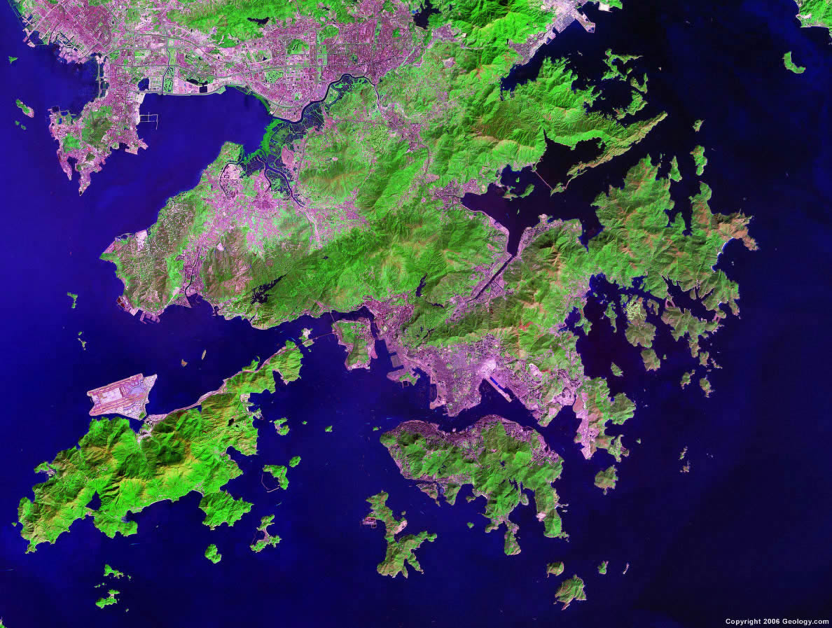 Hong Kong Map And Satellite Image - Earth map satellite