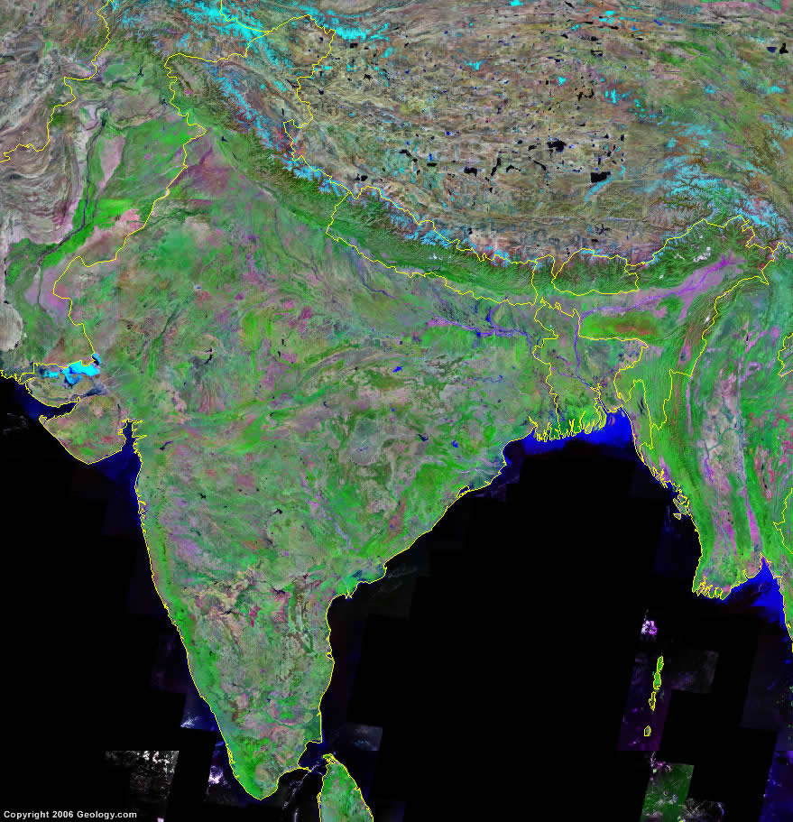 India Map and Satellite Image