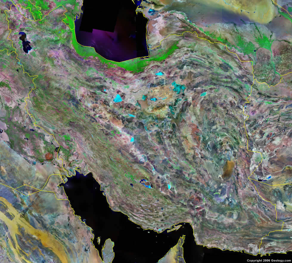 Iran Map and Satellite Image