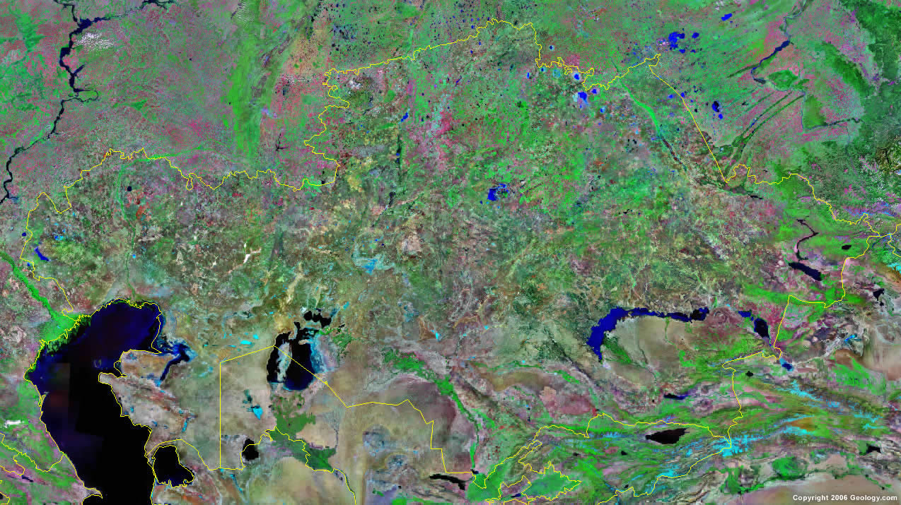 Kazakhstan satellite photo