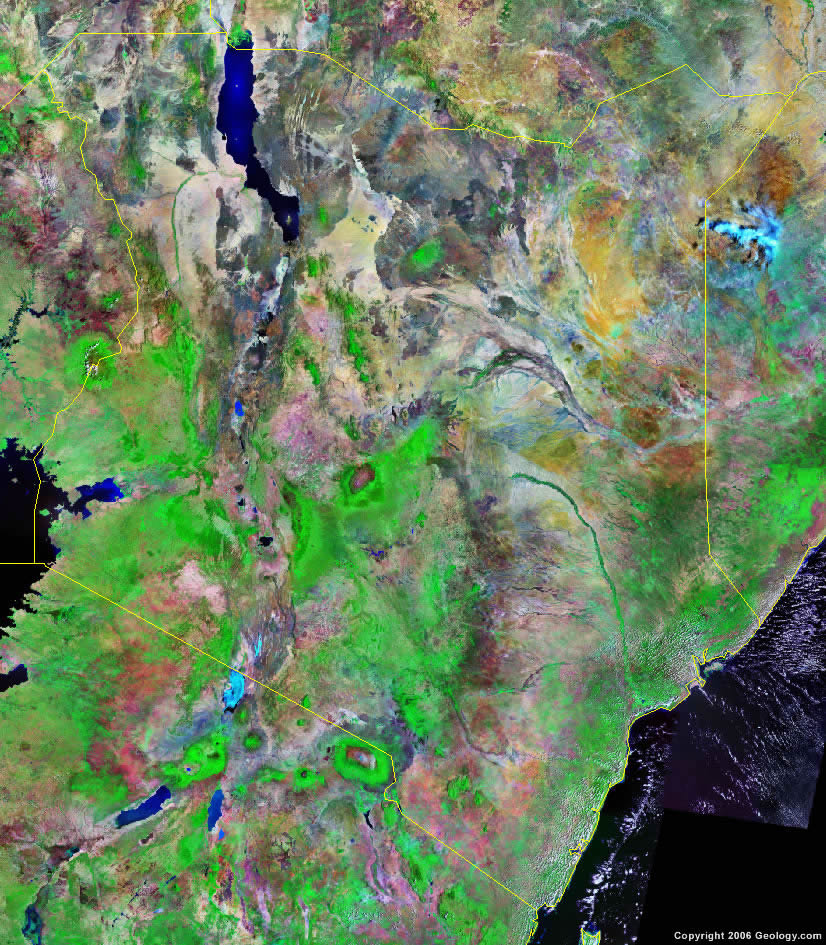 Kenya map and satellite image kenya satellite photo gumiabroncs Gallery