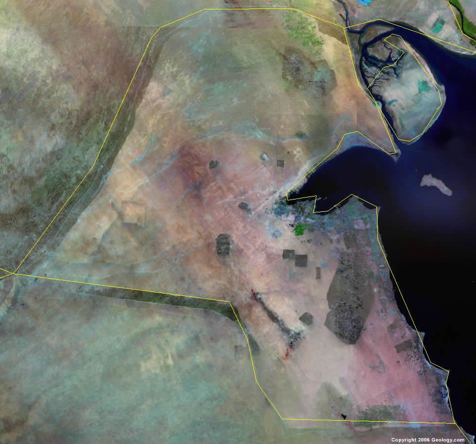 Kuwait Map And Satellite Image - Kuwait map