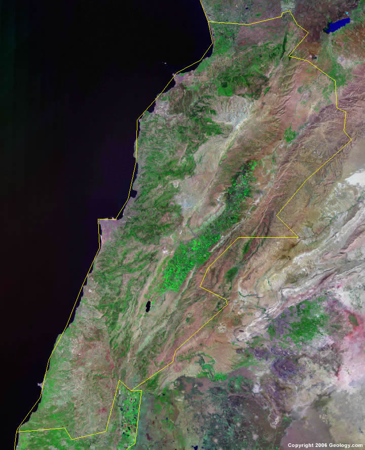 Lebanon satellite photo
