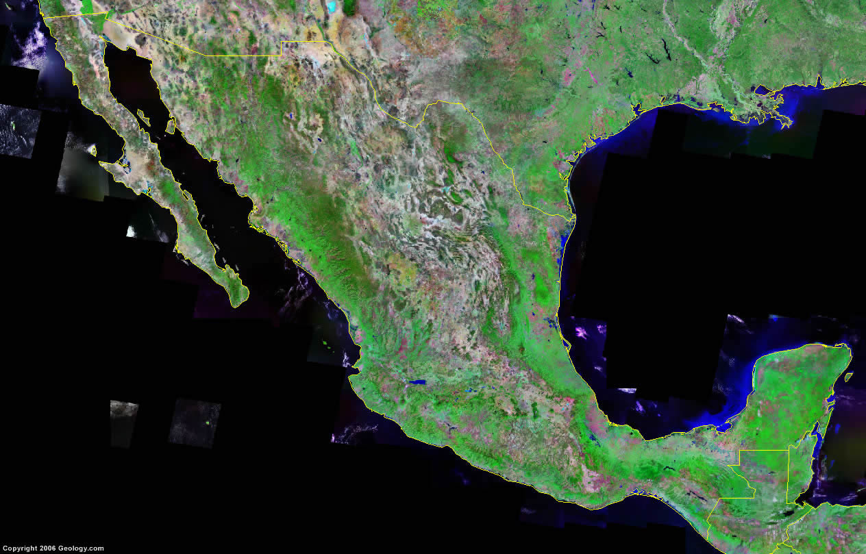 Mexico Map and Satellite Image on