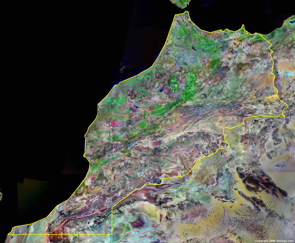 Morocco Map and Satellite Image