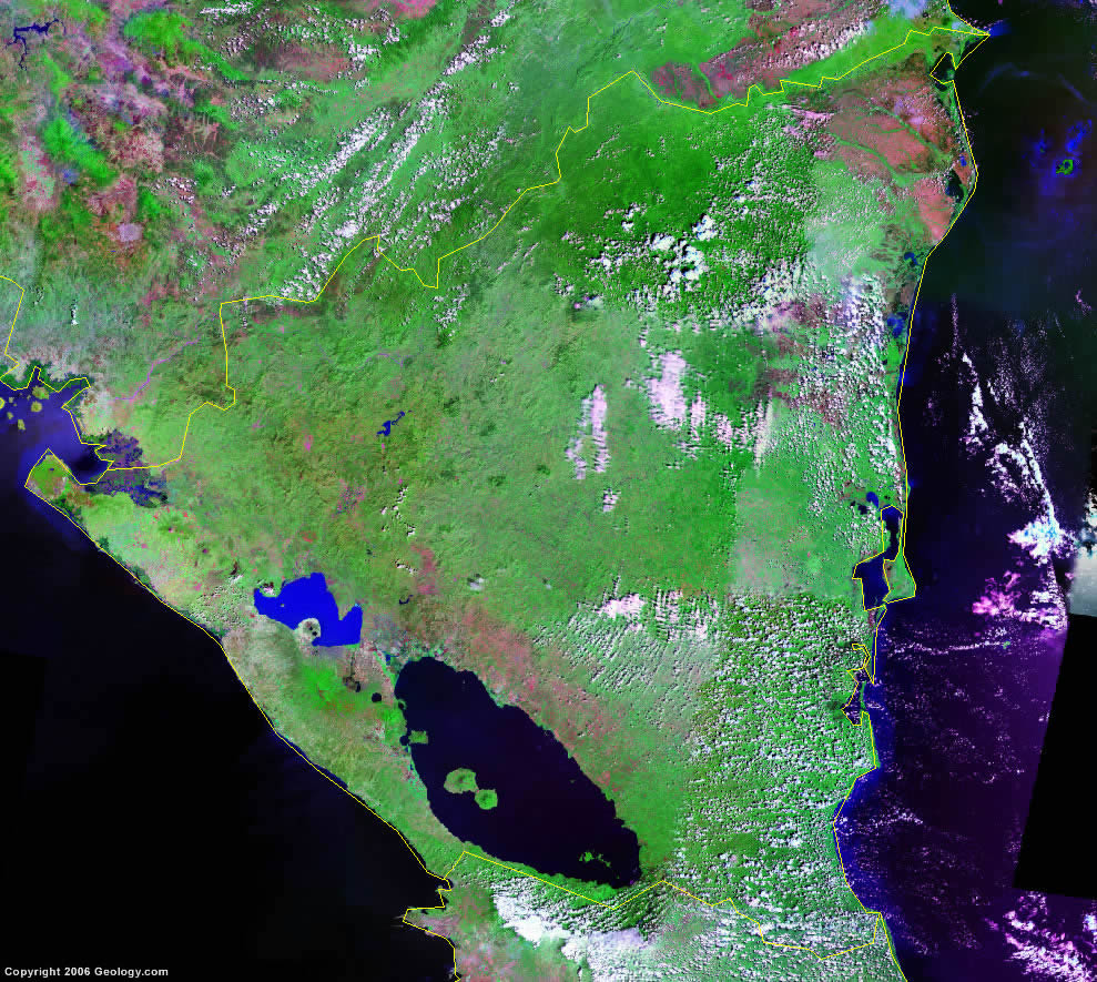 Nicaragua Map And Satellite Image - Country map of nicaragua