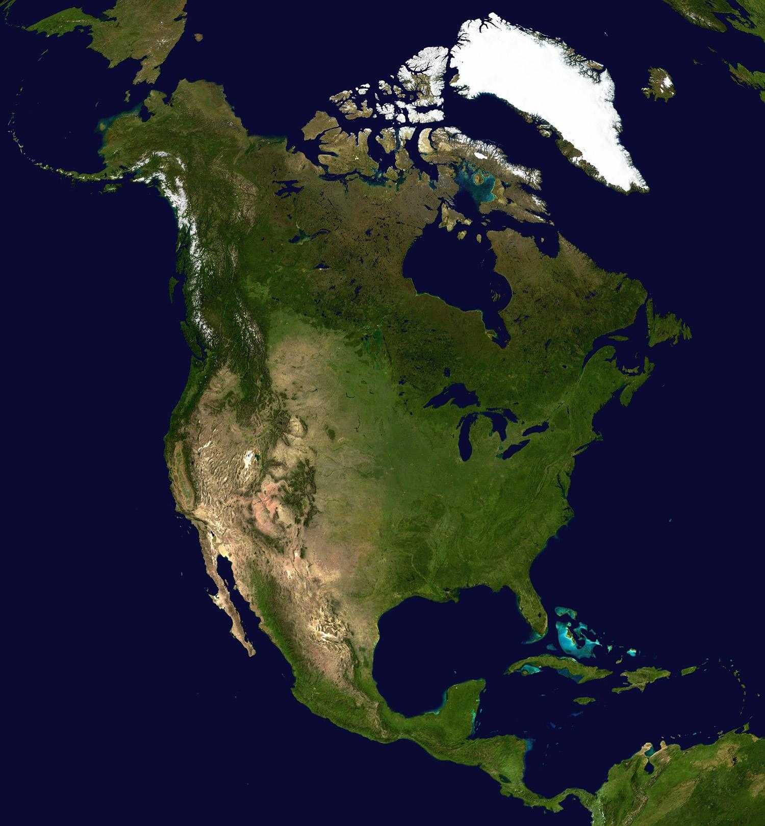 North America Map And Satellite Image - Us elevation map google