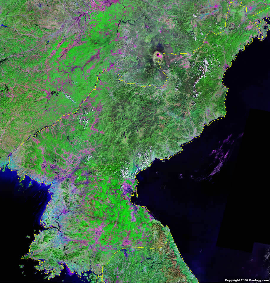 North Korea Map and Satellite Image