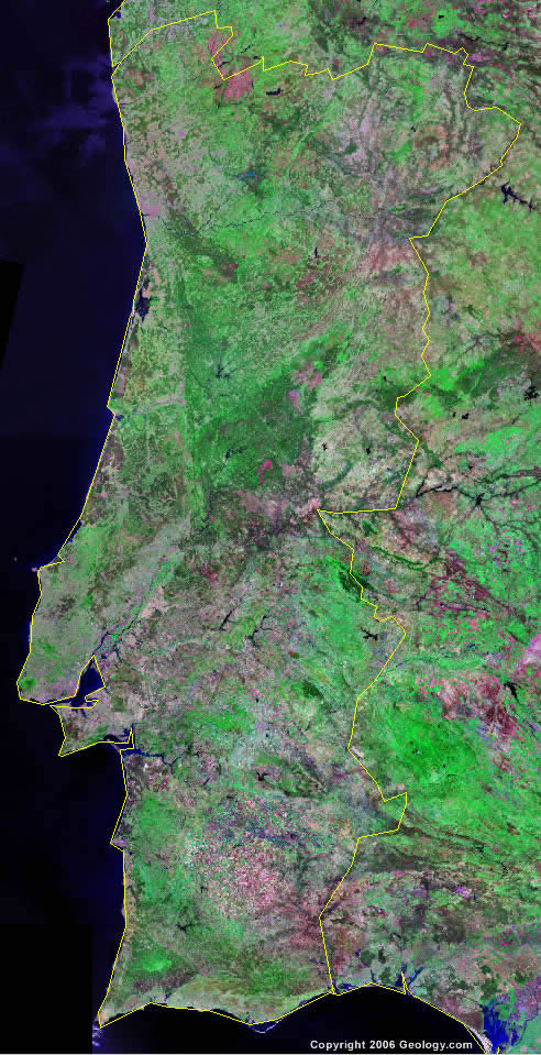 Portugal Map And Satellite Image - Portugal geology map