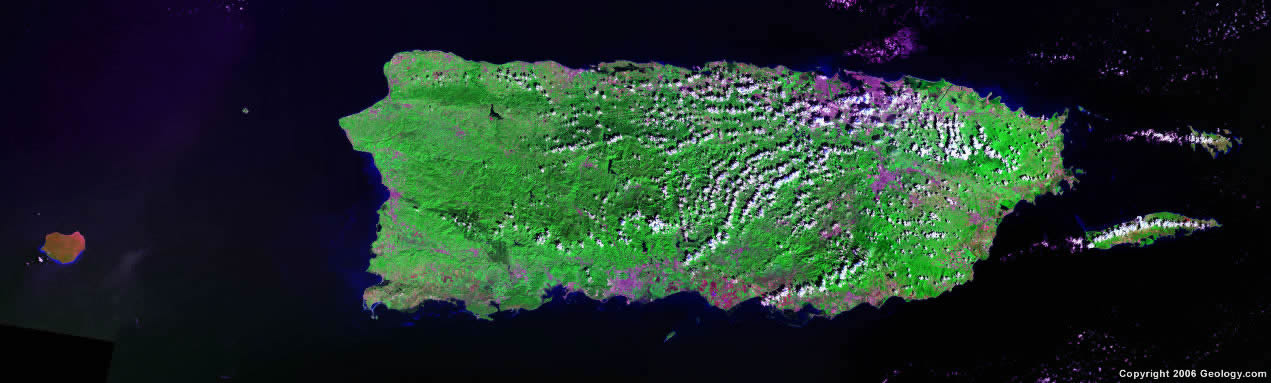 Puerto Rico Map And Satellite Image - Map of puerto rico caribbean islands