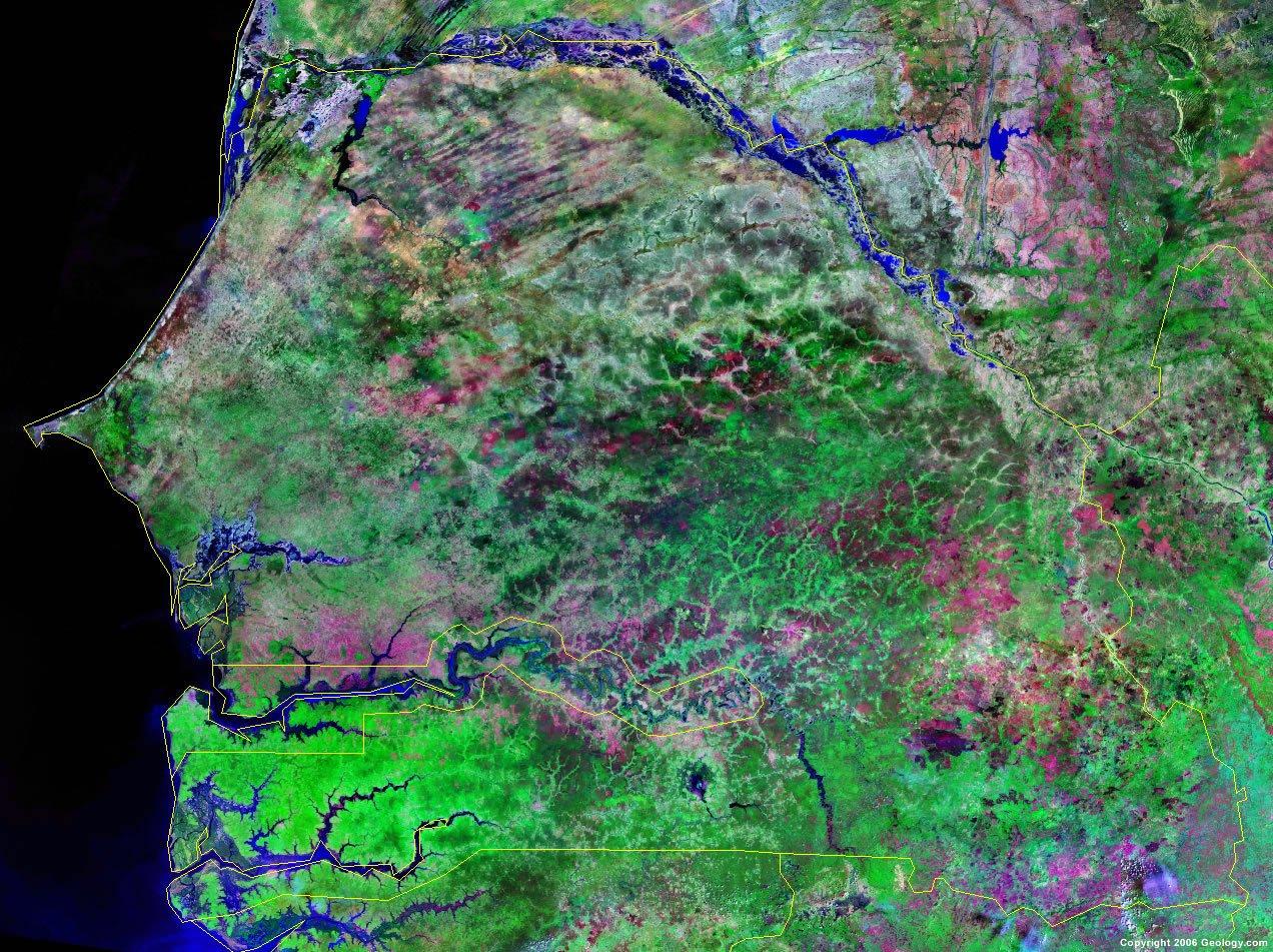 Senegal satellite photo Senegal Map and Satellite