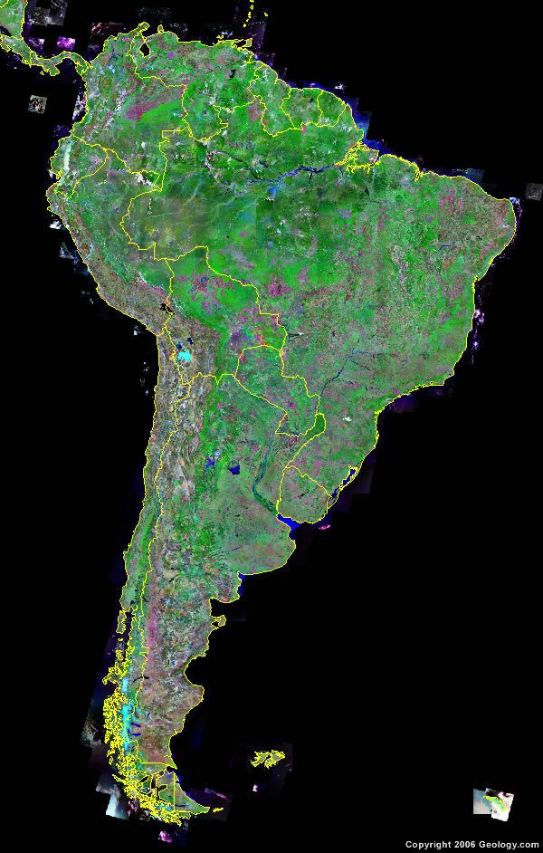 South America satellite photo