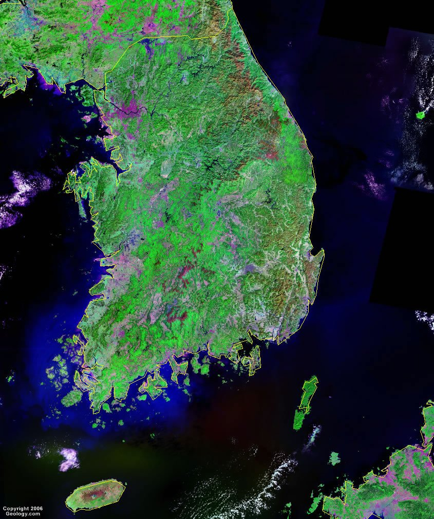 South Korea Map And Satellite Image - Map of south korea